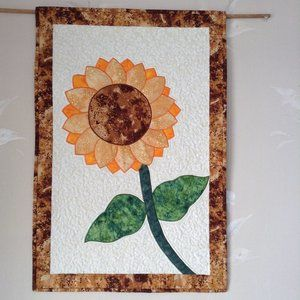 Handmade quilted Sunflower wall hanging.
